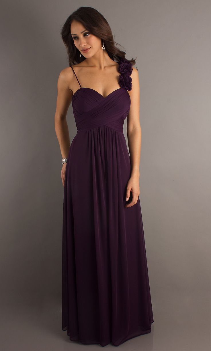 Long plum formal dress.