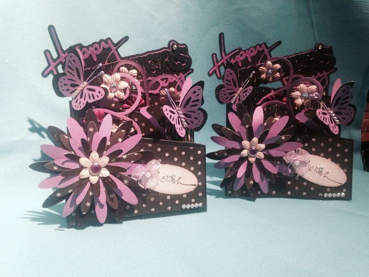 Mother's Day cards ... Cascading card, black & purple -2
