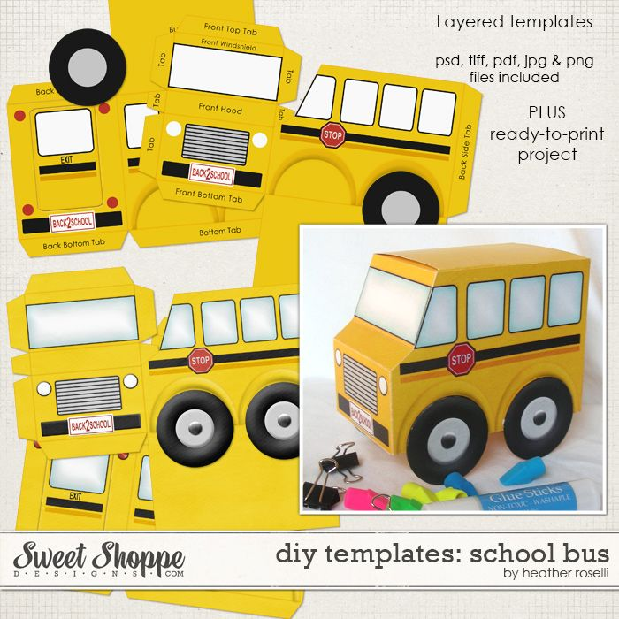 DIY Printable Templates: School Bus by Heather Roselli