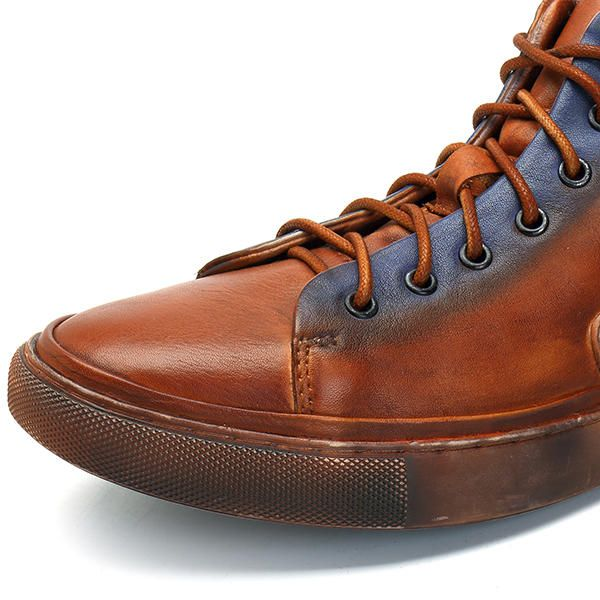 US Size6.5-11 Men Casual Genuine Leather Comfy Lace Up High Top Sneakers Shoes - US$67.84