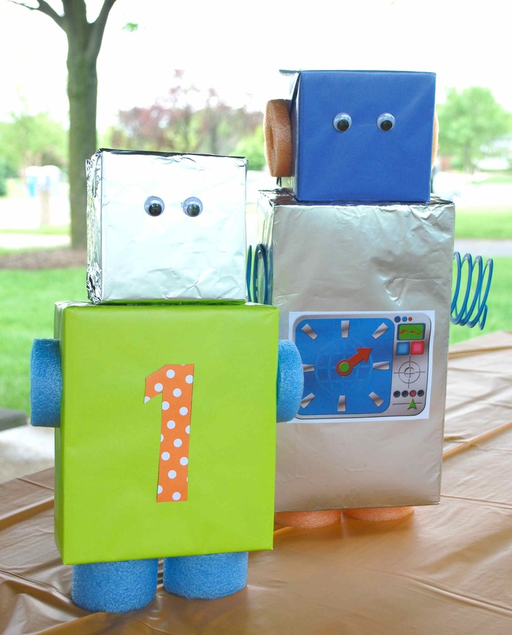 27 best images about bobot birthday party ideas on for Robotic halloween decorations