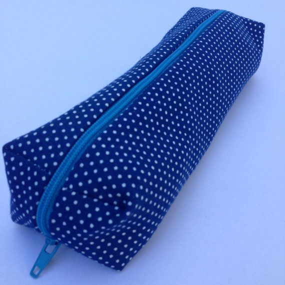 White Dot On Blue Pouch by LittleGreyWolfCT on Etsy