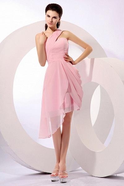 A-Ligne Robes De Demoiselles D'Honneur Rose Drapé rs2750 - Tissu: Mousseline De Soie; Décolleté: Une Épaule; Silhouette: Une Ligne-; Fermeture: Sans Dossier - Price: 120.9900 - Link: http://www.robesoirees.com/a-ligne-robes-de-demoiselles-d-honneur-rose-d