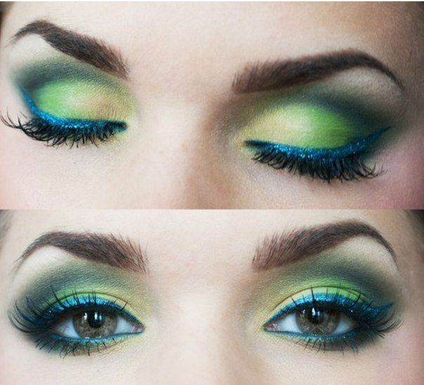 Green shadow with blue liquid liner.