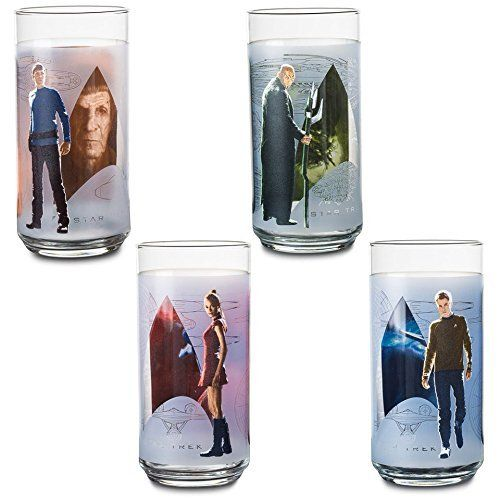 Exclusive Star Trek Character Glasses, Each glass features a different design Set Of 4 16 oz drinking Glasses Includes: Kirk - Spock - Uhura - Nero Images on front and back of glass