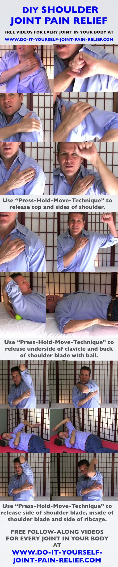 "DIY Shoulder Joint Pain Relief - Free follow-along videos and  free pain relief ""Cheat Sheet""..."