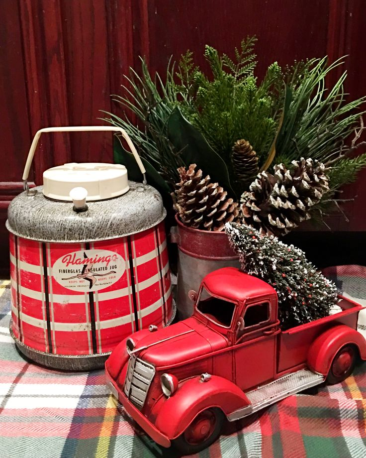 Love using vintage trucks and thermoses in holiday decorating