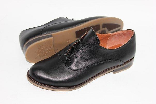 """Черные кожаные туфли """"оксфорды"""""""