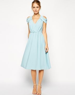 ASOS+Wrap+Front+Midi+Dress This would make for a pretty bridesmaids dress add a pretty soft like pearled belt.