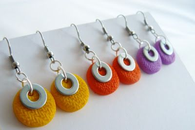simple, bold, colorful earrings. Polymer Clay