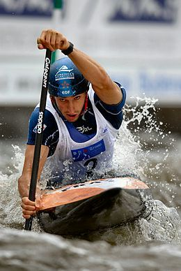 Tony Estanguet (b. 1978) is a French slalom canoeist who has competed since the mid-1990s. Before announcing his retirement, he competed in four Olympic Games and, with his win at the 2012 London Games, became the first French Olympian to win three gold medals in the same Olympic discipline.  Photo: Pavel.rycl