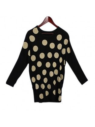 Polka Dot Batwing Sleeve T-shirt