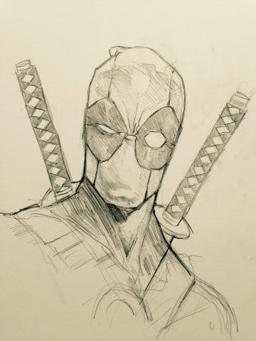 dibujos de deadpool a lapiz carboncillo