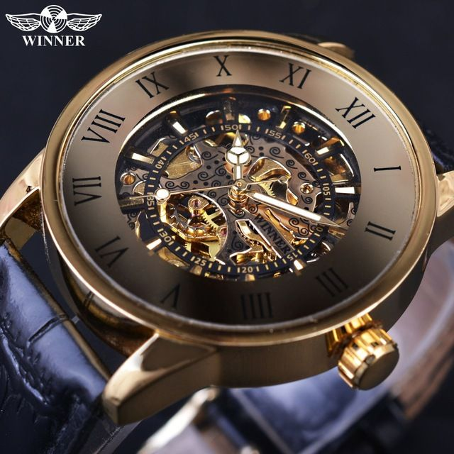 Special offer Winner 2017 Bronze Retro Design Roman Number Display Golden Movement Skeleton Inside Men Watch Top Brand Luxury Mechanical Watch just only $18.99 with free shipping worldwide  #menwatches Plese click on picture to see our special price for you