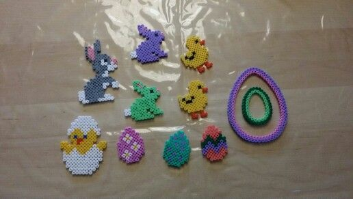 Perler made by me #hama #easter #perler #pearlbeads #creative #hobby #animal #duck #creation #eeg #bunny
