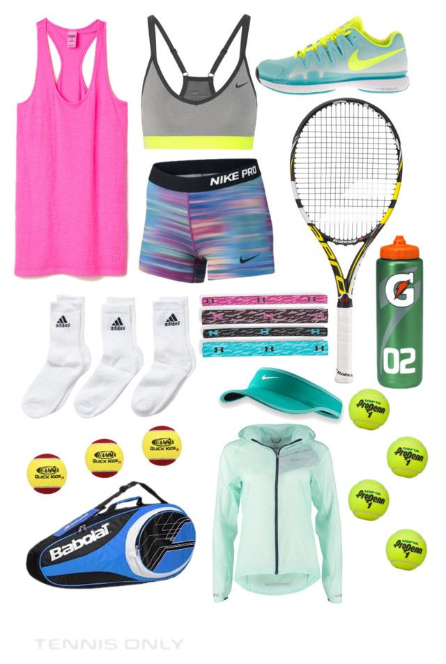 """""""tennis practice outfit"""" by catspurgeon ❤ liked on Polyvore featuring Victoria's Secret PINK, NIKE, Babolat, adidas Originals, Under Armour, women's clothing, women, female, woman and misses"""