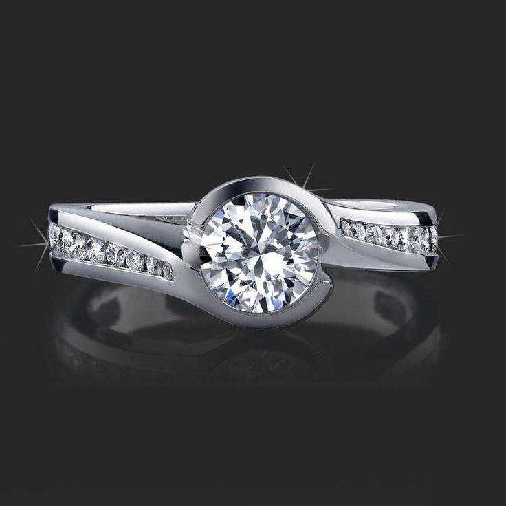 .70 ctw. Deep Set Tension and Bezel Diamond Engagement Ring Top View