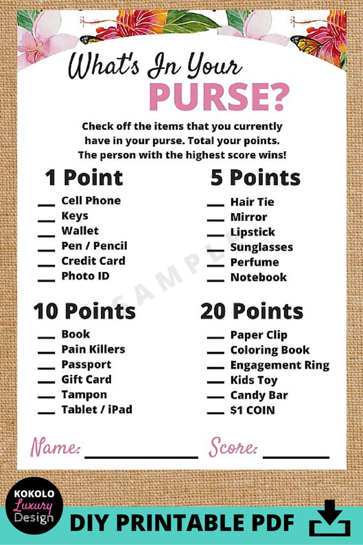 Printable Whats In Your Purse Bridal Shower Game - This is a really fun idea for one of the wedding shower activities at your party. It's a great ice breaker. Everyone pulls out their handbags and get points for having their wallets, phones and keys, but also more unique products to carry around in your bag, like a coloring book! I really like the pink floral design too!