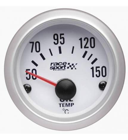 #Termómetro temperatura aceite Race Sport,Termómetro temperatura aceite Race Sport. Este indicador es perfecto para controlar los grados del aceite de tu coche. Está decorado con colores blancos y plateados para una buena visibilidad. Diámetro 52 mm 12 V Iluminado. 32,95€. todastuscompras.com