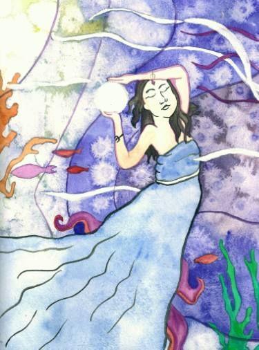 """Saatchi Art Artist Niina Niskanen; Painting, """"Amphitrite Goddess of the sea"""" #art"""