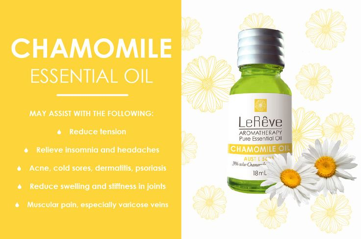 Chamomile essential oil may assist with the following: reduce tension, relieve insomnia and headaches, acne, cold sores, dermatitis, psoriasis, reduce swelling and stiffness in joints, muscular pain, especially varicose veins. All Le Reve essential oils are listed on the Australian Register of Therapeutic Goods (ARTG). Available at http://www.lereve.com.au/aroma/Mix-Your-Own and http://www.aromatherapy.net.au/mix-your-own/?cat=pure-essential-oils