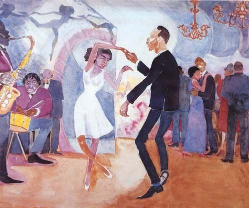 Palmer Hayden  Jeunesse, date unknown, watercolor on paper, 14 x 17 inches, collection of Dr. Meredith F. Sirmans, NY.  Palmer Hayden is a famous artist from the Harlem Renaissance movement. He painted in both oils and watercolors, and was a prolific artist of his era. This painting shows a group of African Americans dancing to jazz music.