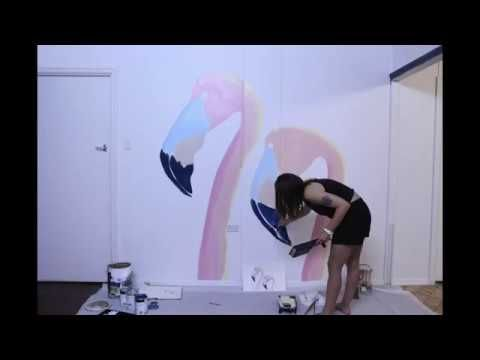 Time-lapse of Flamingo wall mural by Shanay