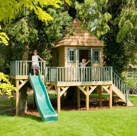 Play House Deck Idea: Step up to a 2nd higher deck for the slide, then house doesn't have to be so high. Brilliant!