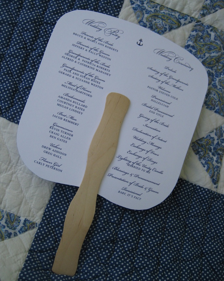 Wedding Program Fan - Anchor - Outdoor Wedding. $35.00, via Etsy.