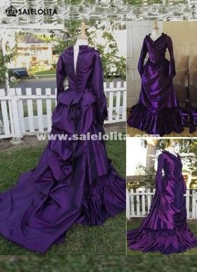 Brand New 19th Century Purple Vintage Victorian Gothic French Bustle Dresses Wedding Renaissance Medieval Southern Belle Ball Gowns Reenactment Theatre Clothing Halloween Costumes