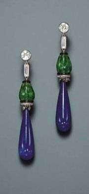 An Art Deco Lapis Lazuli, Enamel and Diamond Earrings, by Cartier  A pair of ear pendants en suite, mounted in platinum, circa 1925, necklace 18 ins., with French assay marks.