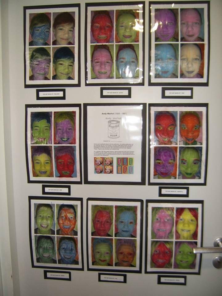 Kunst à la Andy Warhol. Foto's inkleuren met kleurpotlood.