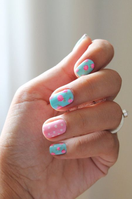 Summer 2014 Floral pink roses and dots nailart