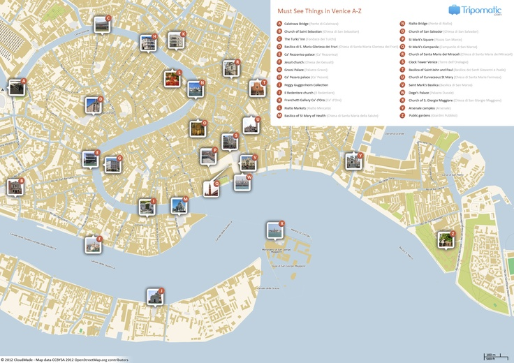 Free Printable Map of Venice attractions.
