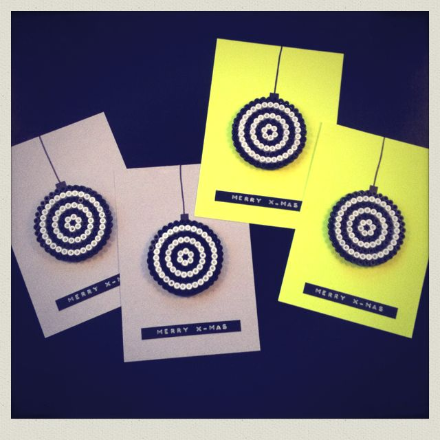 My christmascards... Neon or grey cardboard w plastic perls and 3D dymo tape ;)