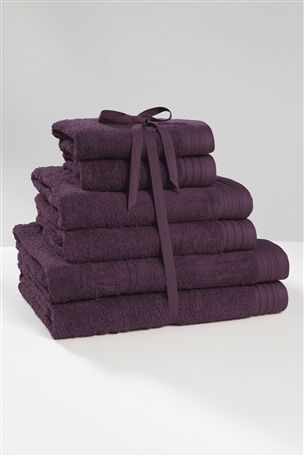 6 Piece Chambray Towel Bale in Plum