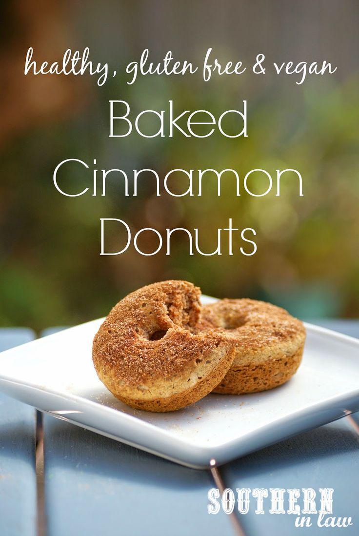 Healthy Vegan Baked Cinnamon Donuts Recipe - Gluten free, low fat, low sugar, egg free, dairy free