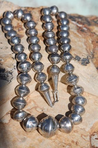 Vintage Southwestern Tribal Stamped Sterling Silver Navajo Wedding Bead Necklace | eBay