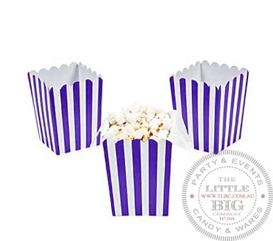 Purple Striped popcorn or treat boxes (24) | Favor Bags and Boxes | Party Collection | The Little Big Company Pty Ltdparty, glass bottles, swizzle sticks, beverage dispenser, birthday, gift, rock candy