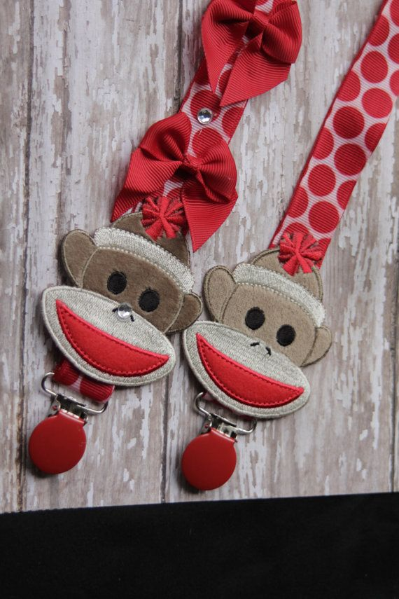 Hey, I found this really awesome Etsy listing at https://www.etsy.com/listing/162934982/baby-pacifier-clip-sock-monkey