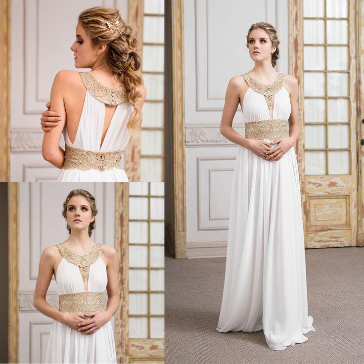 vestido de novia griego de gasa · Gossamer greek wedding dress - www.santoencanto.cl/vestidos-de-novia/