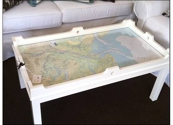 Dixie Delights Coffee Table Nautical Chart