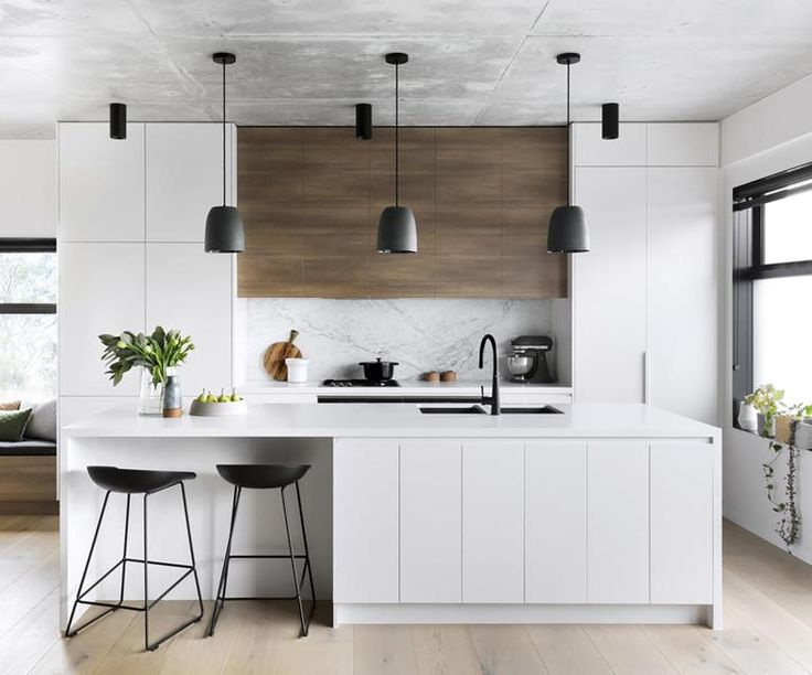 A modern kitchen with a timeless palette