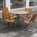 Trädgårdsgrupp+Grythyttans+Stålmöbler+med+4+karmstolar+samt+runt+bord.+100+cm+ø.+Reserverad