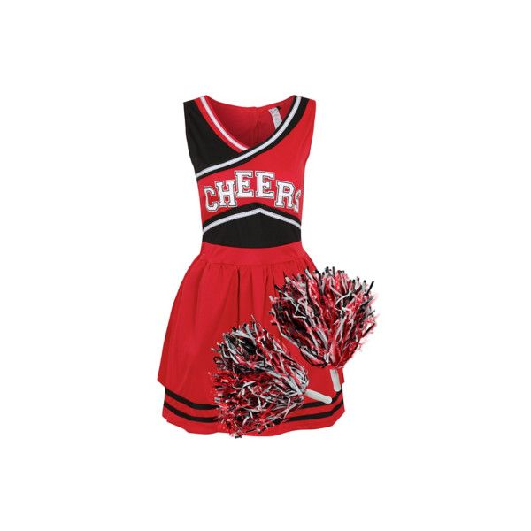 George Cheerleader Fancy Dress Costume (£16) ❤ liked on Polyvore featuring costumes, black, fancy halloween costumes, party halloween costumes, hook costume, party costumes and fancy costumes