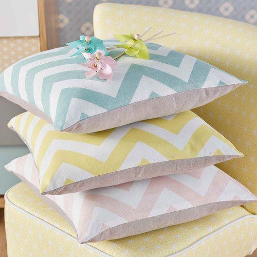 Fodera di cuscino blu in cotone 40 x 40 cm INFINI