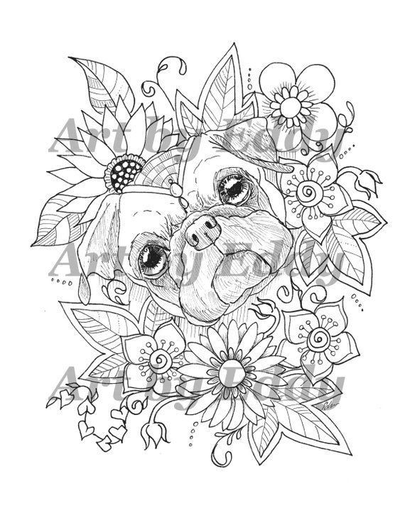 Art Of Pug Single Coloring Page Sunflower Pug Pug Tattoo Art