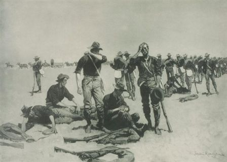 AFTER THE SKIRMISH   Frederic Remington  Realized Price 240 USD   Dimensions: 21.75 X 15.5 in.  Lithograph   Signed  http://www.zaidan.ca/Art_Gallery/Auctions/13_08_10_Altermann_Galleries,_Santa_Fe_August_Auction.htm