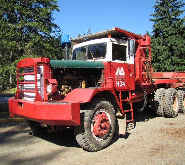 1958 Hayes Logging Truck, built for M&B. 1 of 7 trucks at M&B's Sproat Lake Div. to have a Rolls Royce motor. HR Macmillan, trading forest product to Great Britain after WWII, agreed to accept payment in equipment since Britain was heavily in debt, and Rolls Royce engines were part of this deal. However, the motors were not well suited to logging-they tended to overheat and give up, so the Rolls Royce engine was replaced with a Cummins motor. Alberni Valley Museum Industrial Collection…