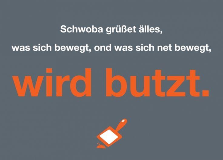 Postkarte: Schwoba grüßet älles, ... ond was sich net bewegt, wird butzt.
